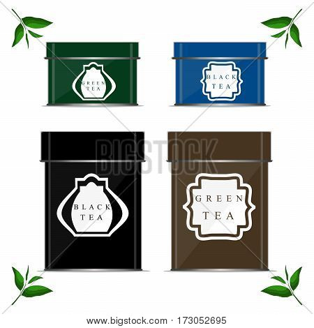 Vector illustration of logo for metal box for storing tea branch with green leaves tin container isolated white background.Tea drawing consisting of iron shapes rectangle square.Drink teas in boxes.