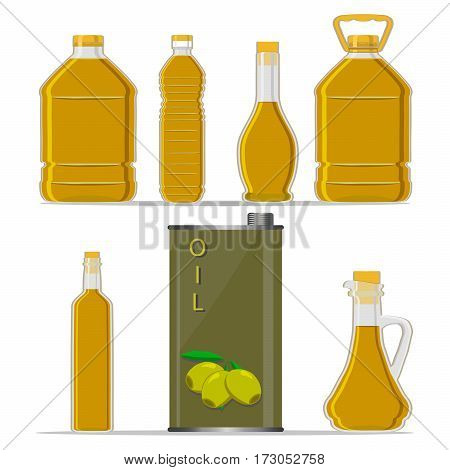 Vector illustration logo for set yellow glass bottle Olive Oil plastic bottles with cap iron jar olive oil metal container natural organic liquid olives in label oily drop closeup on white background