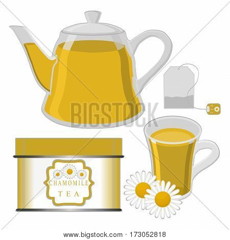 Abstract vector illustration logo for home camomile tea cup tea drawing pattern consisting of mug with handle porcelain cups teabag glass teacup teapot brewed liquid drink fresh flower teas for health