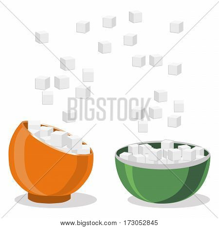 Vector illustration of logo for theme set sweet crystal sugar in two bowls on white background.Sugar drawing consisting of bowl with flying gray cubes ingredient for coffee tea.Eat fresh cube sugars