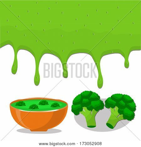 Vector illustration of logo for vegetable green broccoli cut sliced plant product flows down liquid in bowls soups background.Broccoli drawing consisting of kitchenware bowl soup.Eat fresh broccoli's.