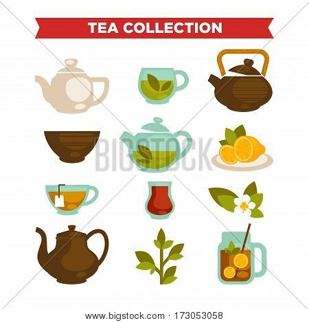 Tea collection logo templates. Vector icons of cups or mugs, brew teapot and teabags. Icons set for cafe or restaurant and product packaging design