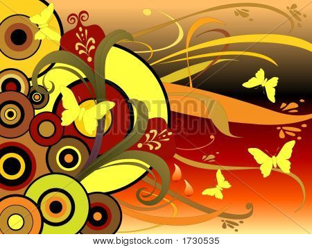 Floral Graphics Butterflies Circles Art 30
