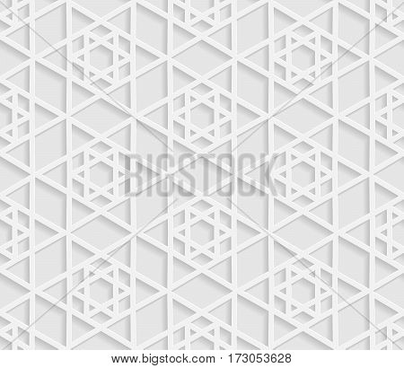 Seamless arabic geometric pattern 3D white pattern indian ornament vector. Endless texture can be used for wallpaper pattern fills web page background surface textures.