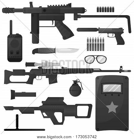 Military weapon machine guns and ammunition. Special forces squad arms. Vector isolated icons set of army soldier munitions