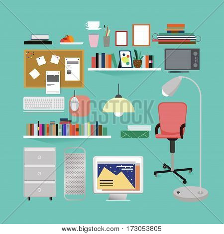 Flat room interior elements set with furniture stationery equipment and workplace objects on green background isolated vector illustration
