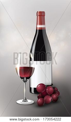 Realistic red wine poster with grapes bunch elegant full bottle and glass on blurred background vector illustration