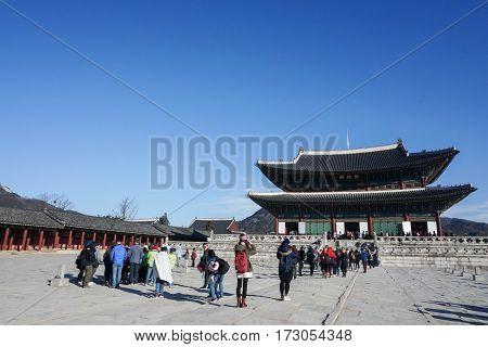 people travel to Gyeongbokgung Palace taken in Seoul South Korea on 18 February 2017