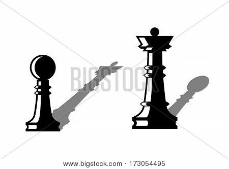 Chess figures. Pawn with the shadow of queen. Queen with the shadow of pawn. Social inequality concept. Vector illustration.