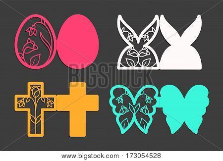 Laser cut template for Easter greeting fold-out cards, invitations. Easter egg, rabbit, butterfly and cross with a floral pattern cut out of paper. Image suitable for laser cutting, plotter cutting or printing.