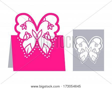 Laser cut template for Easter greeting fold-out cards, invitations. Easter egg with a floral pattern cut out of paper. Image suitable for laser cutting, plotter cutting or printing.
