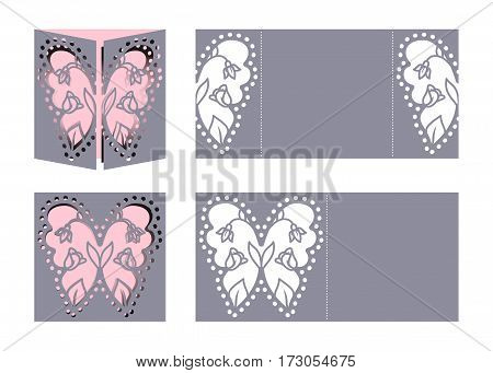 Laser cut template for Easter greeting fold-out cards, invitations. Easter butterfly with a floral pattern cut out of paper. Image suitable for laser cutting, plotter cutting or printing.