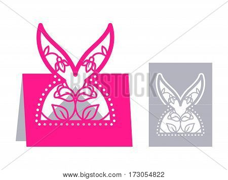 Laser cut template for Easter greeting fold-out cards, invitations. Easter rabbit with a floral pattern cut out of paper. Image suitable for laser cutting, plotter cutting or printing.