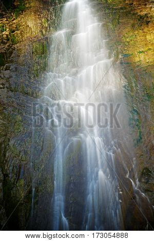 Sorrosal Waterfall in Broto, Pyrenees, Huesca Province, Aragon, Spain.