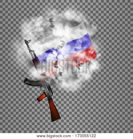 Realistic vector Russian Kalashnikov assault rifle with a flag in the smoke. Isolated objects smoke retaining real transparency.