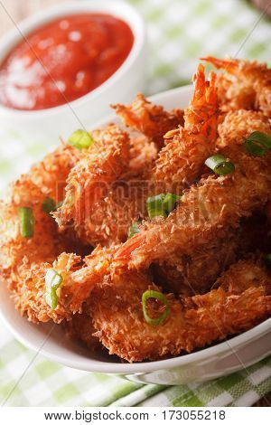 Fried Coconut Shrimp Closeup And Tomato Sauce. Vertical