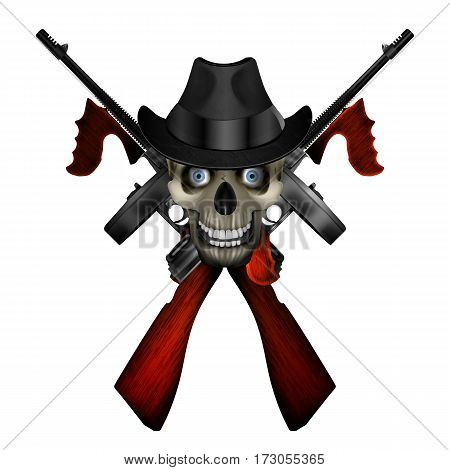 Logo realistic Thompson machine with a skull wearing a hat.