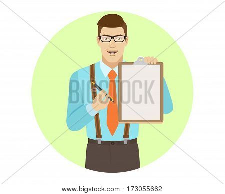 Businessman giving pen for your signature on clipboard. A man wearing a tie and suspenders. Portrait of businessman in a flat style. Vector illustration.