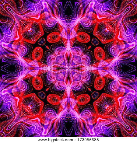 Abstract decorative red and violet multicolor texture - kaleidoscopic ornamental pattern