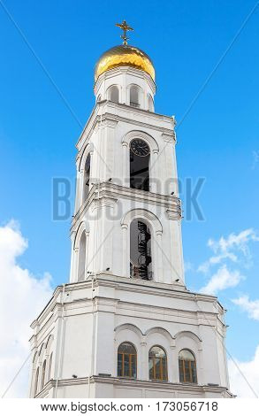 Belfry against the blue sky. Russian orthodox church. Iversky monastery in Samara Russia