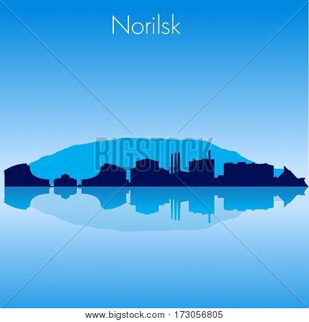 Norilsk Russia Vector detailed skyline with reflexion