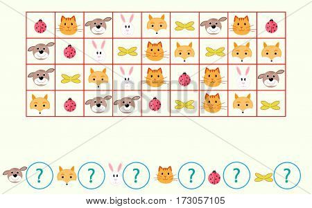 children's mathematical game Count the animals vector illustration
