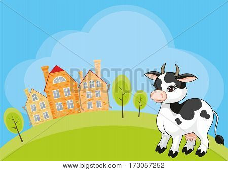 Vector children's background with the image of a rural landscape and a ridiculous cow