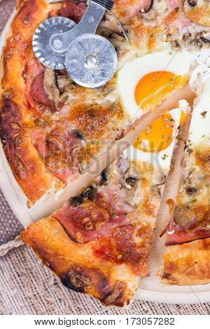 Flat Lay Of Pizza Slice With Egg Ham Mushrooms