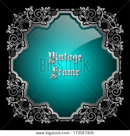 Vintage decorative silver frame with place for text. Vector illustration