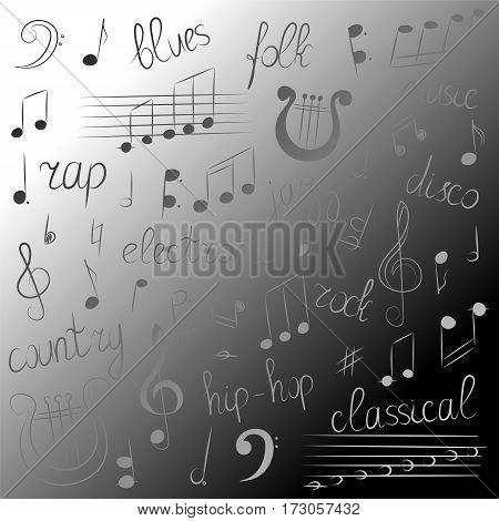 Monochrome Hand Drawn Set of Music Symbols and Styles on Monochrome Background. Doodle Treble Clef Bass Clef Notes and Lyre. Lettering of Blues Electronic Jazz Rap Disco Folk Country Rock Classical. Vector Illustration.