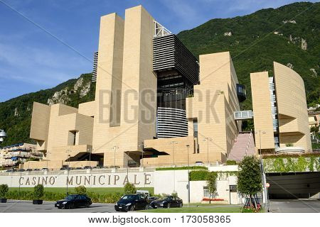 Campione d'Italia, Italy - 28 August 2014: The municipal casino of Campione d'Italia Italy