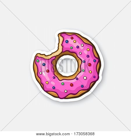 Vector illustration. Bitten donut with pink glaze and colored powder. Sticker in cartoon style with contour. Decoration for greeting cards, patches, prints for clothes, badges, posters, emblems