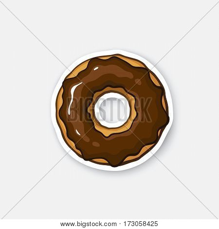 Vector illustration. Bitten donut with chocolate glaze. Sticker in cartoon style with contour. Decoration for greeting cards, patches, prints for clothes, badges, posters, emblems