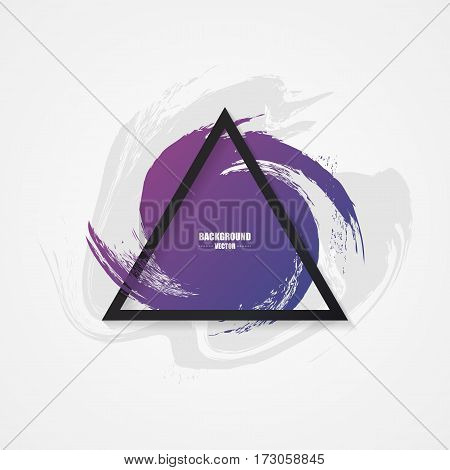 Box from brush strokes. Modern painted background with triangle. Vector illustration