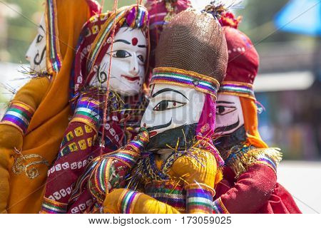 close up of traditional india doll in display shopfront in Dilli Haat Delhi India. Dilli Haat is traditional marketplace in delhi