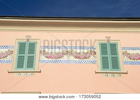 Campione d'Italia, Italy - 28 August 2014: Detail of a house at Campione d'Italia on lake lugano Italy