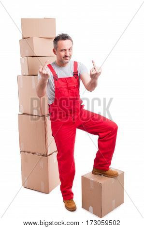 Mover Guy Standing On Boxes Showing Obscene Gesture