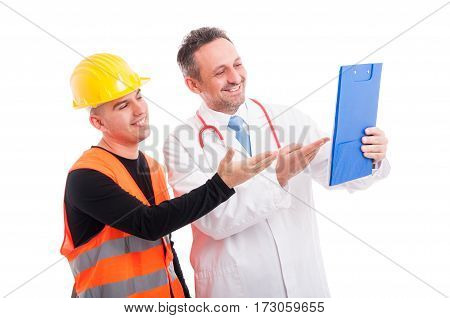 Doctor And Constructor Showing Something On Clipboard And Smiling