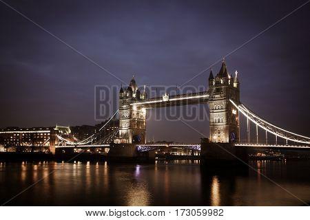 tower Bridge by night, London, UK