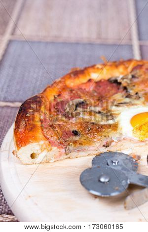 Homemade Delicious Pizza With Egg Mushrooms Ham