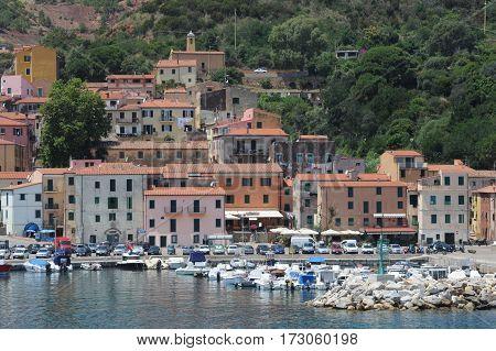 Rio Marina Italy - 5 July 2011: The village of Rio Marina on Elba island Italy