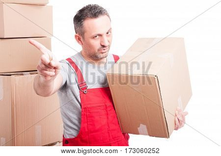 Portrait Of Mover Man Holding Box Showing Denial Gesture