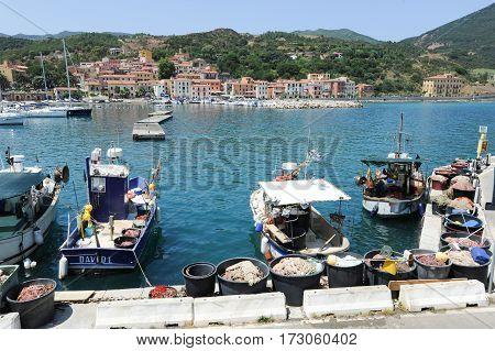 The Village Of Rio Marina On Elba Island, Italy