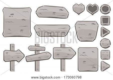 Set of cartoon stone signs, panels, buttons. Game design