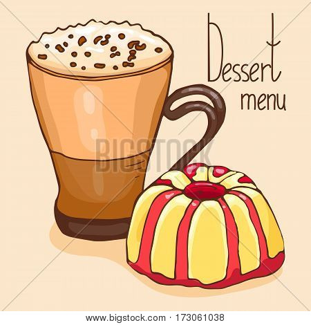 Coffee and dessert. Vector illustration, cartoon style