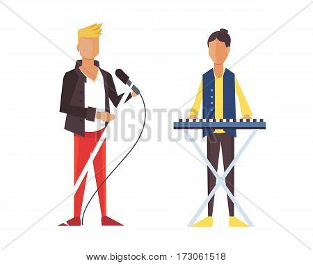 Pop singer Vector illustration flat isolated. Rock group isolated