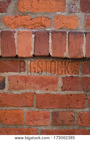 Close-up of new brick wall background, full frame