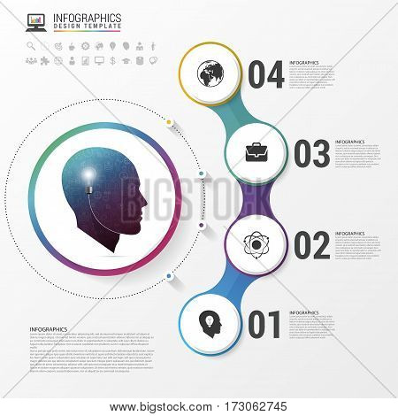 Infographic. Creative head. Colorful circle with icons. Vector illustration