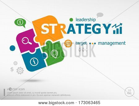 Strategy Word Cloud Concept On Colorful Jigsaw Puzzle.