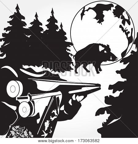 Loading of a rifle black and white vector illustration. Chasing wild boar concept design elements in flat style.
